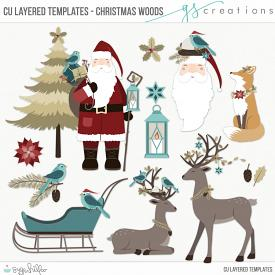 Christmas Woods Layered Templates (CU)