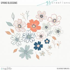Spring Blossoms Layered Templates (CU)