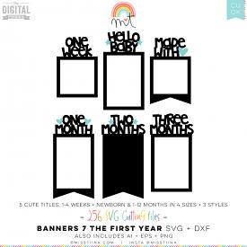 Banners 7 - Baby's First Year SVG (CU)