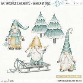 Winter Gnomes Layered Watercolours (CU)