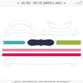 Live Free : Love Life Banners & Labels (CU)