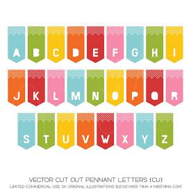 Cut Out Pennant Letters (CU)