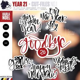 Year 21 | New Year Sentiments 1 | Cut-File Stickers