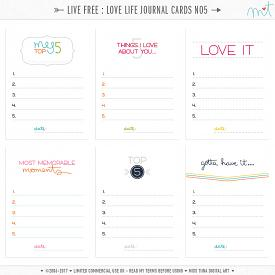 Live Free : Love Life Journal Cards 5 (CU)