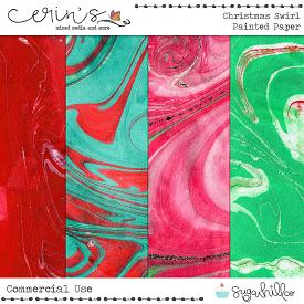 Christmas Swirl Painted Paper (CU)