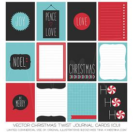 Christmas Twist Journal Cards (CU)