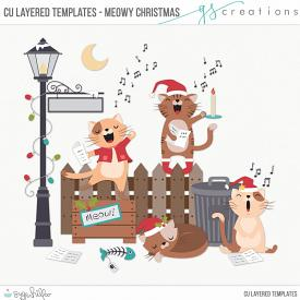 Meowy Christmas Layered Templates (CU)